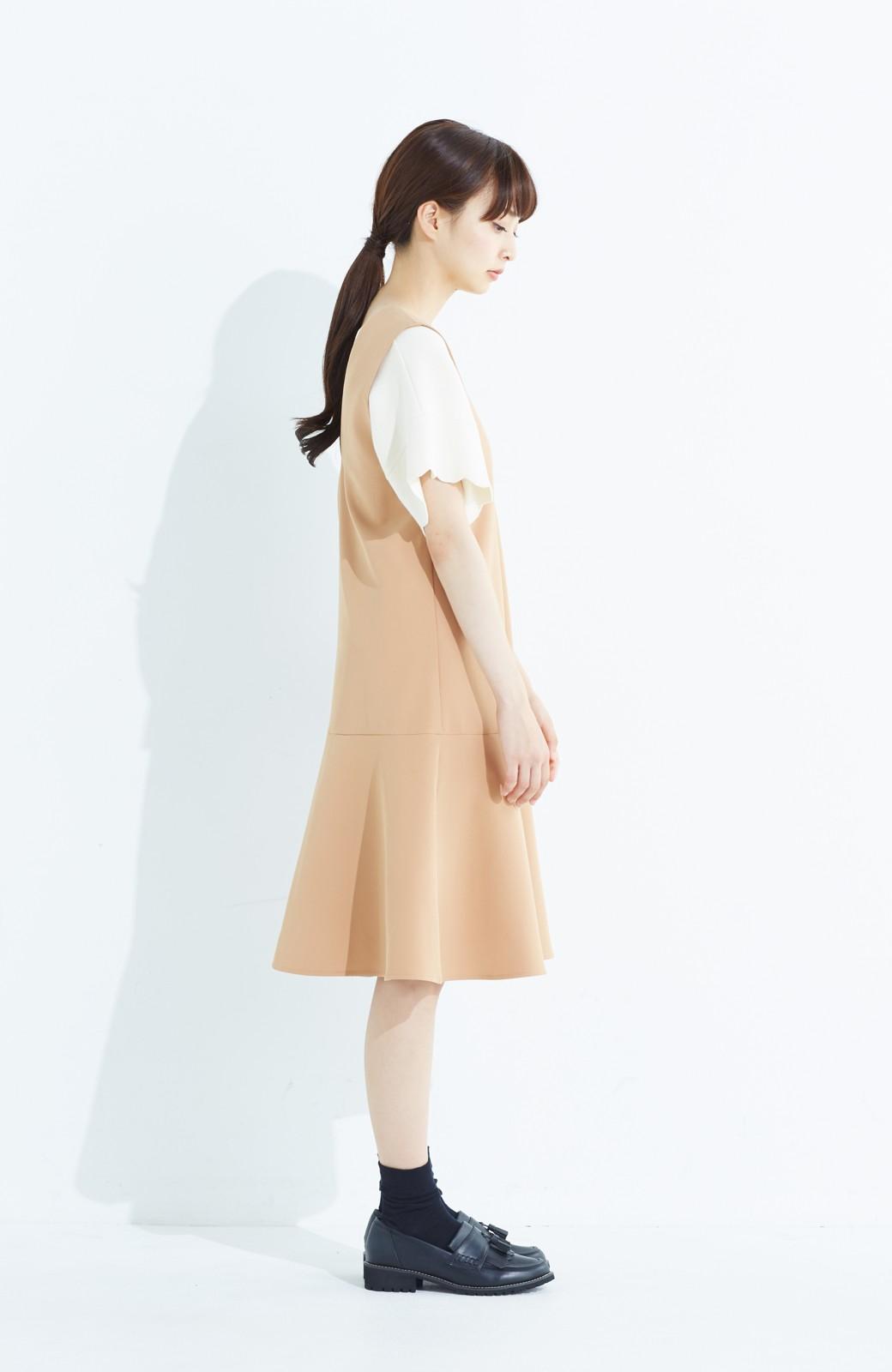 haco! パッと着て今気分&長い季節着られる すそフレアージャンパースカート <ベージュ>の商品写真11