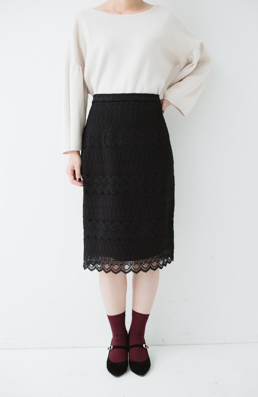 haco! 伸びる素材で楽して女っぽく レースタイトスカート <ブラック>の商品写真3