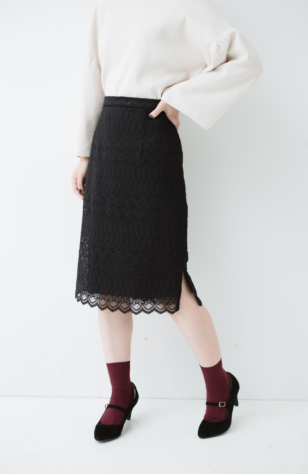 haco! 伸びる素材で楽して女っぽく レースタイトスカート <ブラック>の商品写真4