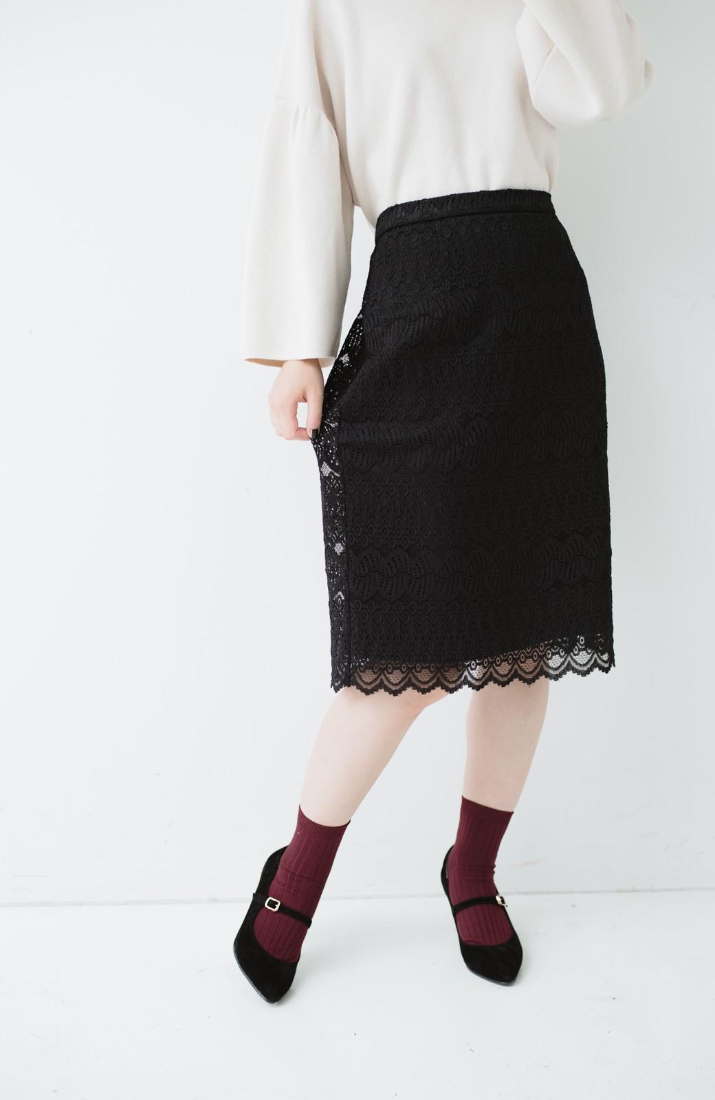 haco! 伸びる素材で楽して女っぽく レースタイトスカート <ブラック>の商品写真5