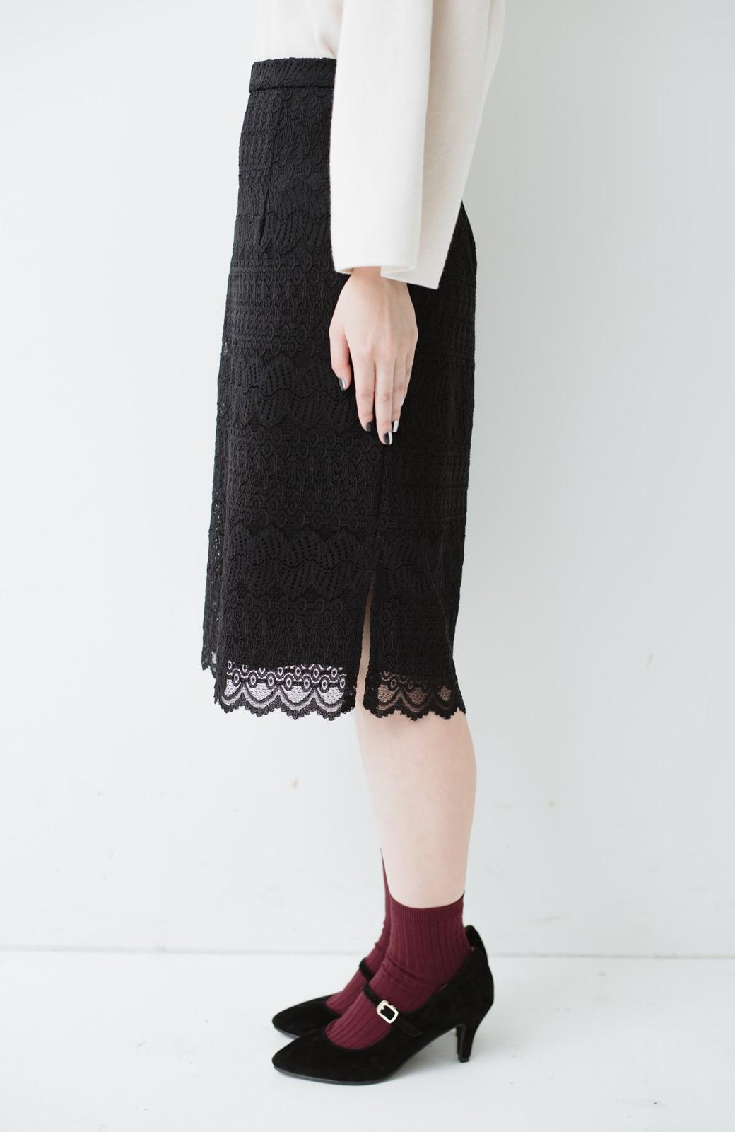 haco! 伸びる素材で楽して女っぽく レースタイトスカート <ブラック>の商品写真6