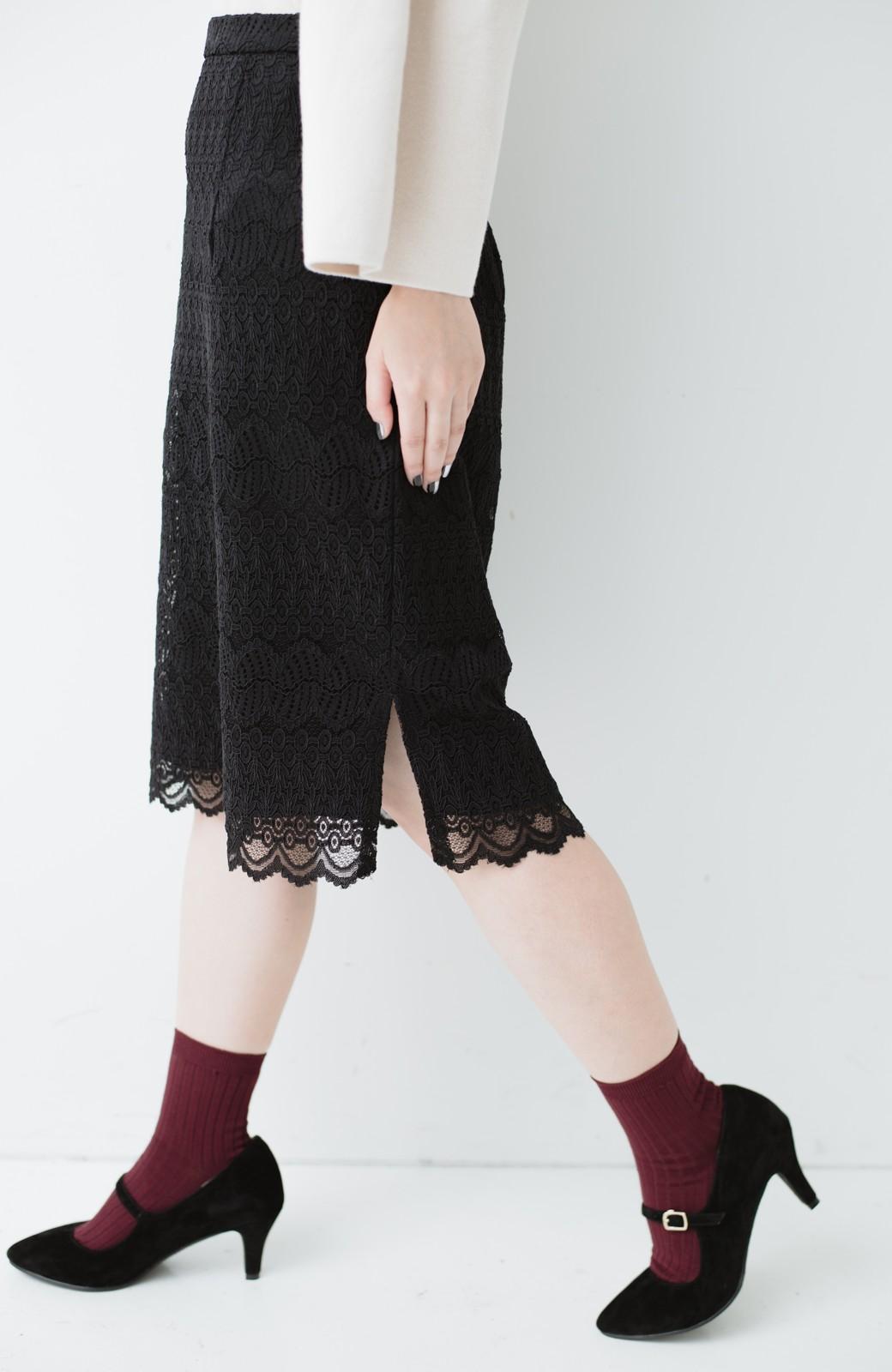 haco! 伸びる素材で楽して女っぽく レースタイトスカート <ブラック>の商品写真7
