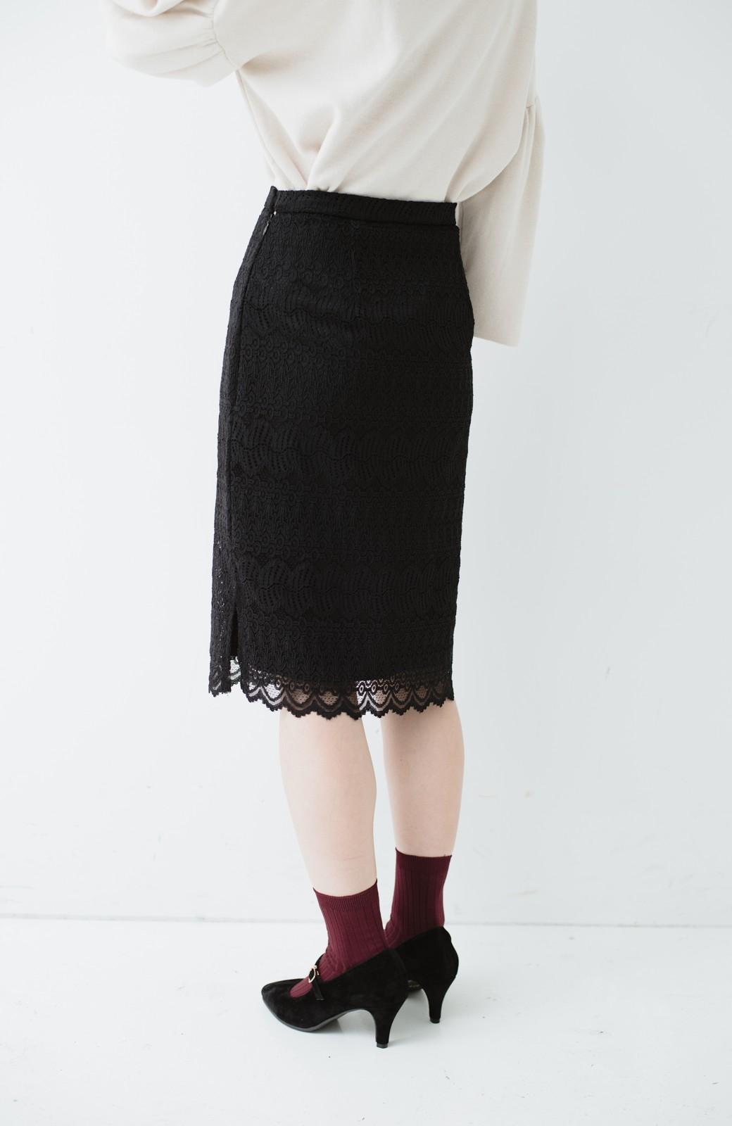 haco! 伸びる素材で楽して女っぽく レースタイトスカート <ブラック>の商品写真8