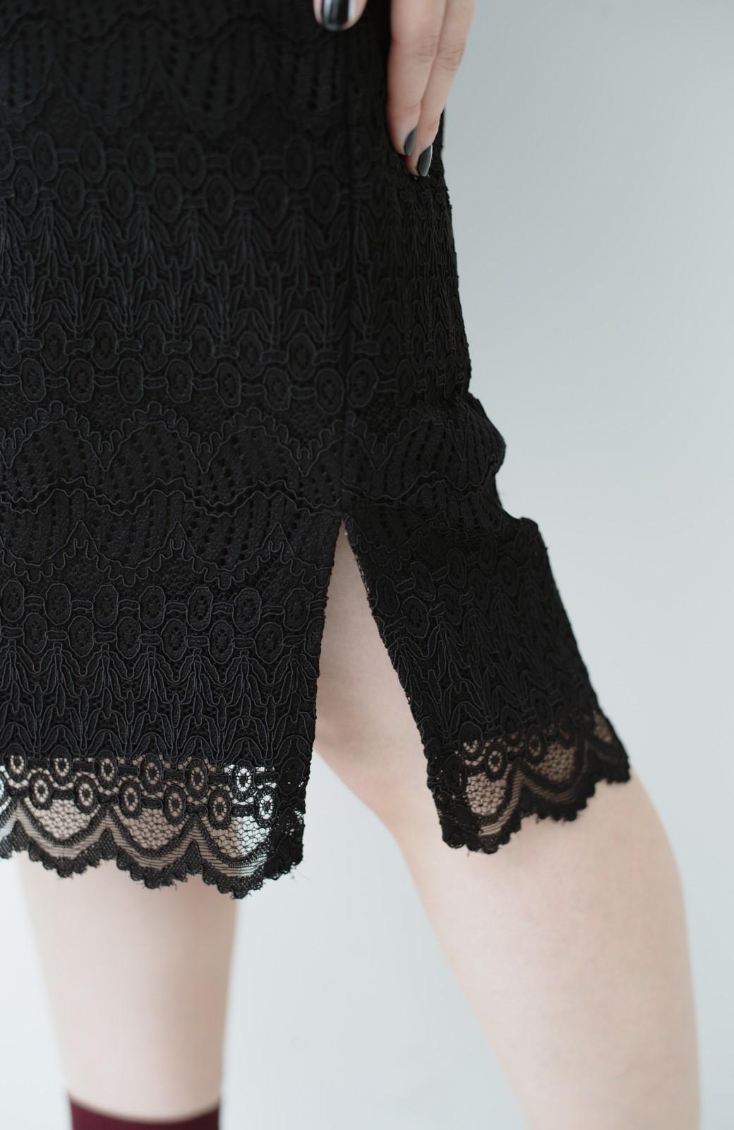 haco! 伸びる素材で楽して女っぽく レースタイトスカート <ブラック>の商品写真10