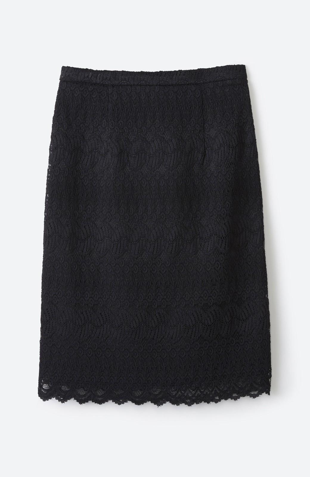 haco! 伸びる素材で楽して女っぽく レースタイトスカート <ブラック>の商品写真1