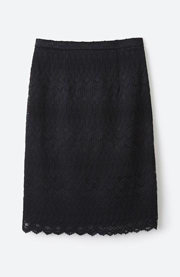 haco! 伸びる素材で楽して女っぽく レースタイトスカート <ブラック>の商品写真