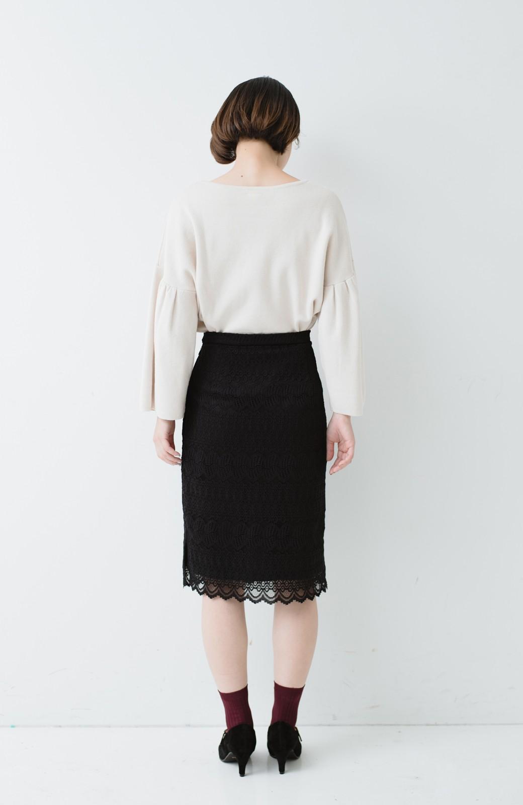 haco! 伸びる素材で楽して女っぽく レースタイトスカート <ブラック>の商品写真16