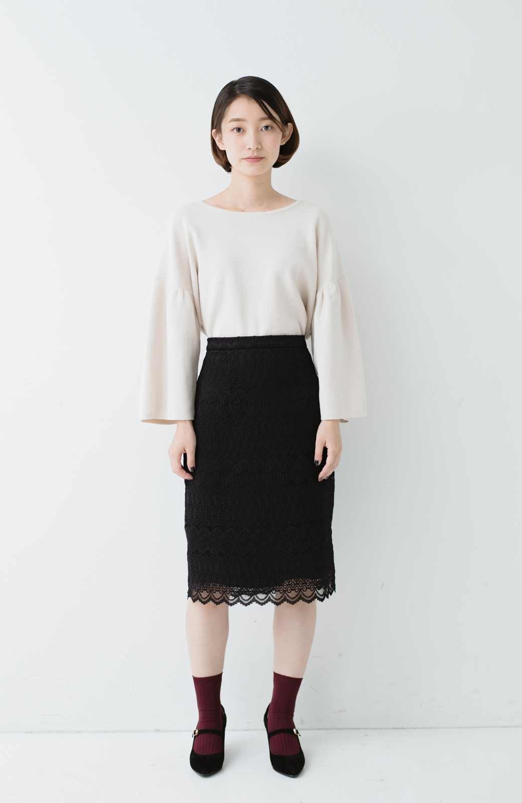 haco! 伸びる素材で楽して女っぽく レースタイトスカート <ブラック>の商品写真11