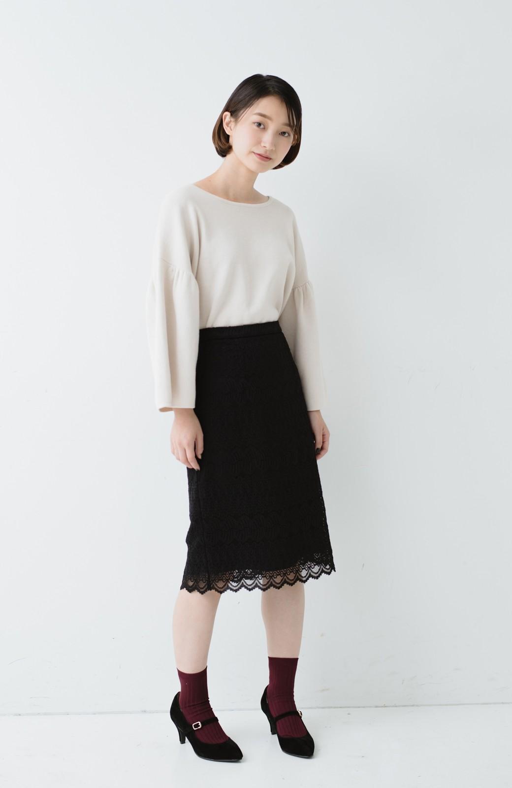 haco! 伸びる素材で楽して女っぽく レースタイトスカート <ブラック>の商品写真12