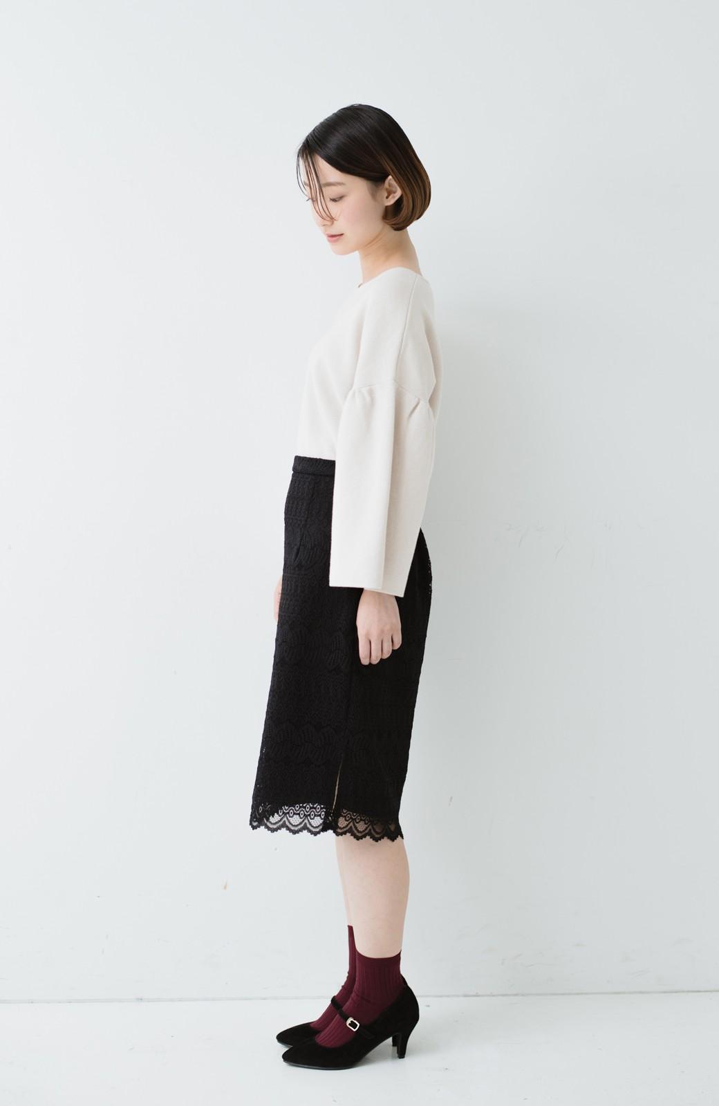haco! 伸びる素材で楽して女っぽく レースタイトスカート <ブラック>の商品写真13