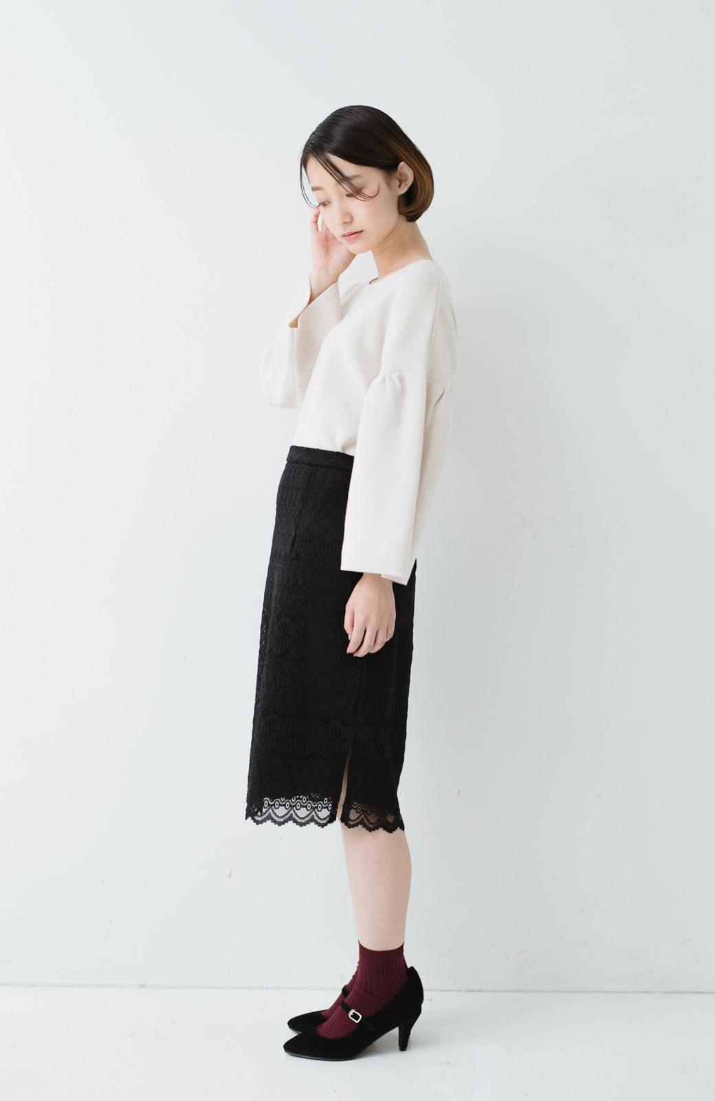 haco! 伸びる素材で楽して女っぽく レースタイトスカート <ブラック>の商品写真14