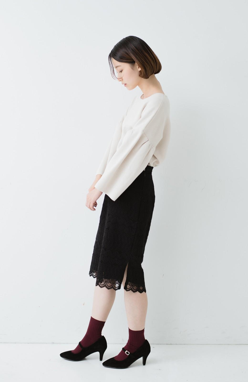 haco! 伸びる素材で楽して女っぽく レースタイトスカート <ブラック>の商品写真15