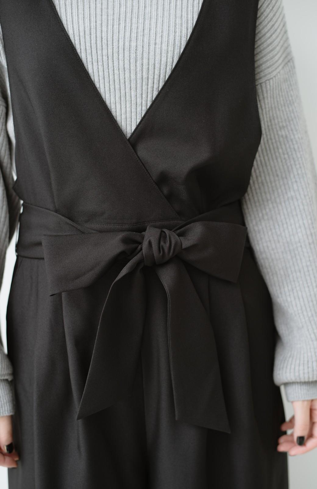 haco! Vネック&ウエストリボンの女っぽオールインワン <ブラック>の商品写真20