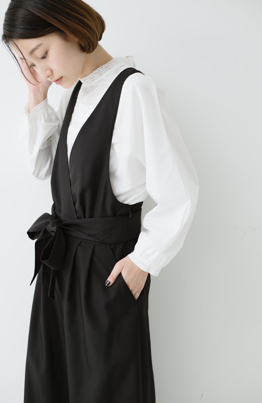haco! Vネック&ウエストリボンの女っぽオールインワン <ブラック>の商品写真12