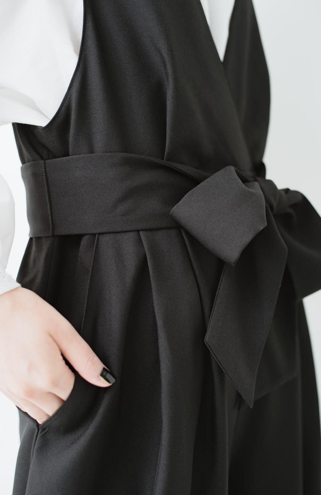 haco! Vネック&ウエストリボンの女っぽオールインワン <ブラック>の商品写真15