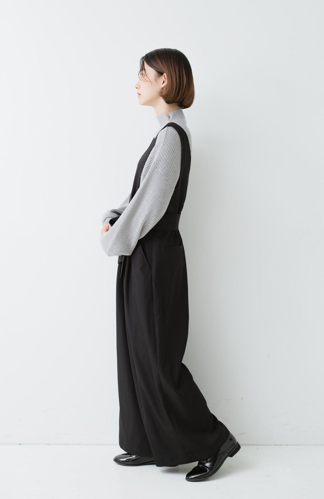 haco! Vネック&ウエストリボンの女っぽオールインワン <ブラック>の商品写真8