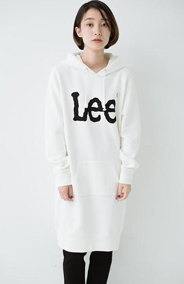 haco! Lady Lee ロゴプリントのパーカーワンピース <ホワイト>の商品写真