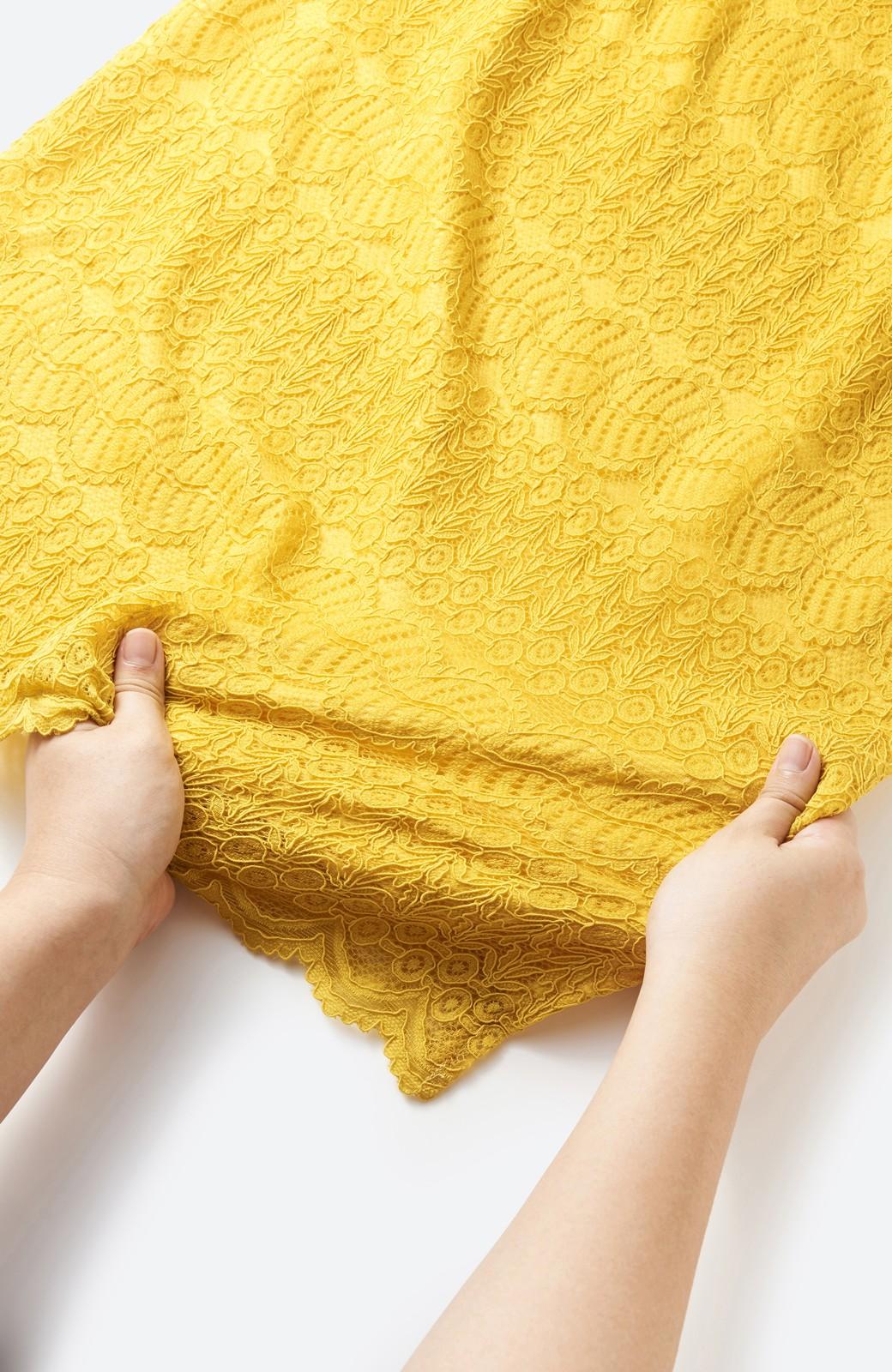 haco! 伸びる素材で楽して女っぽく レースタイトスカート <イエロー>の商品写真2