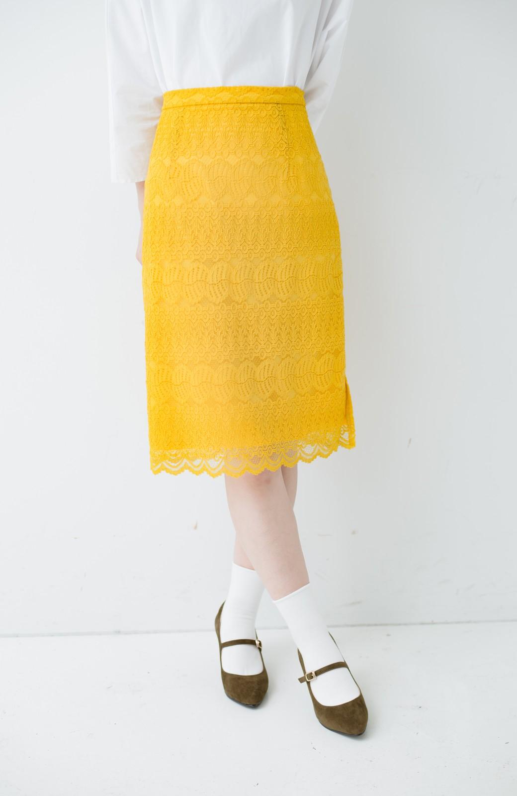haco! 伸びる素材で楽して女っぽく レースタイトスカート <イエロー>の商品写真3