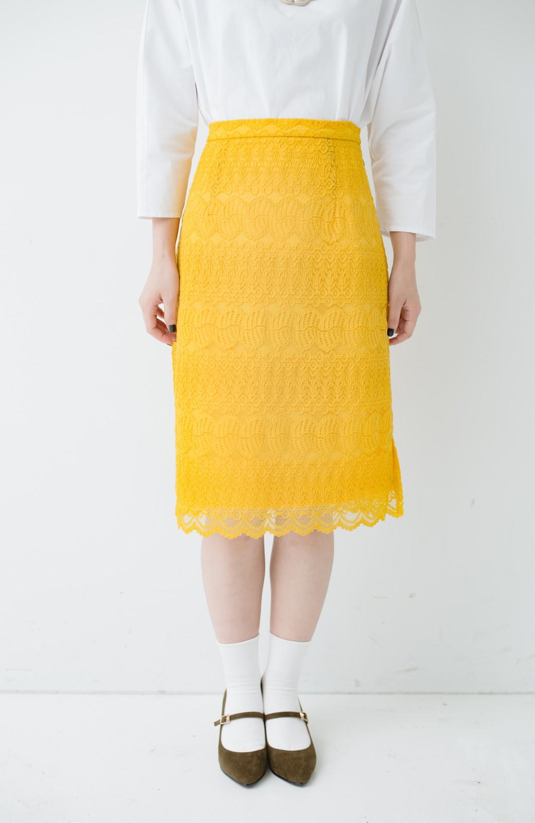 haco! 伸びる素材で楽して女っぽく レースタイトスカート <イエロー>の商品写真4
