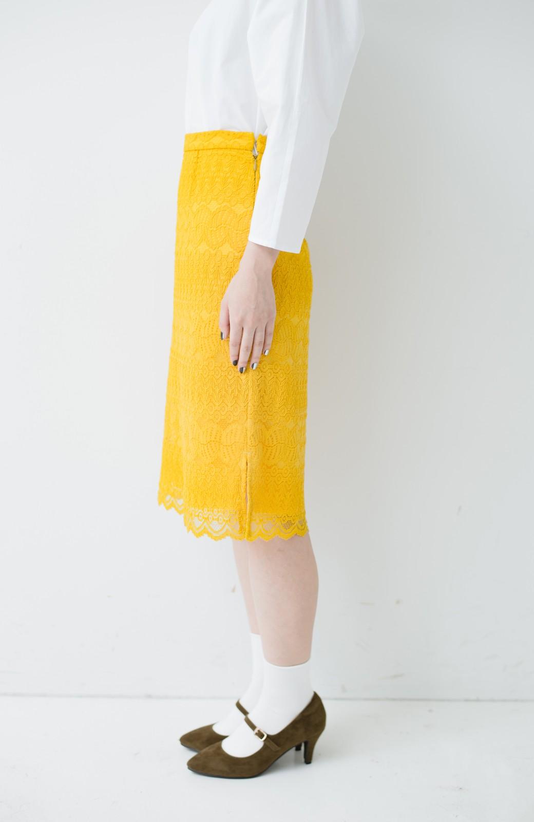 haco! 伸びる素材で楽して女っぽく レースタイトスカート <イエロー>の商品写真5