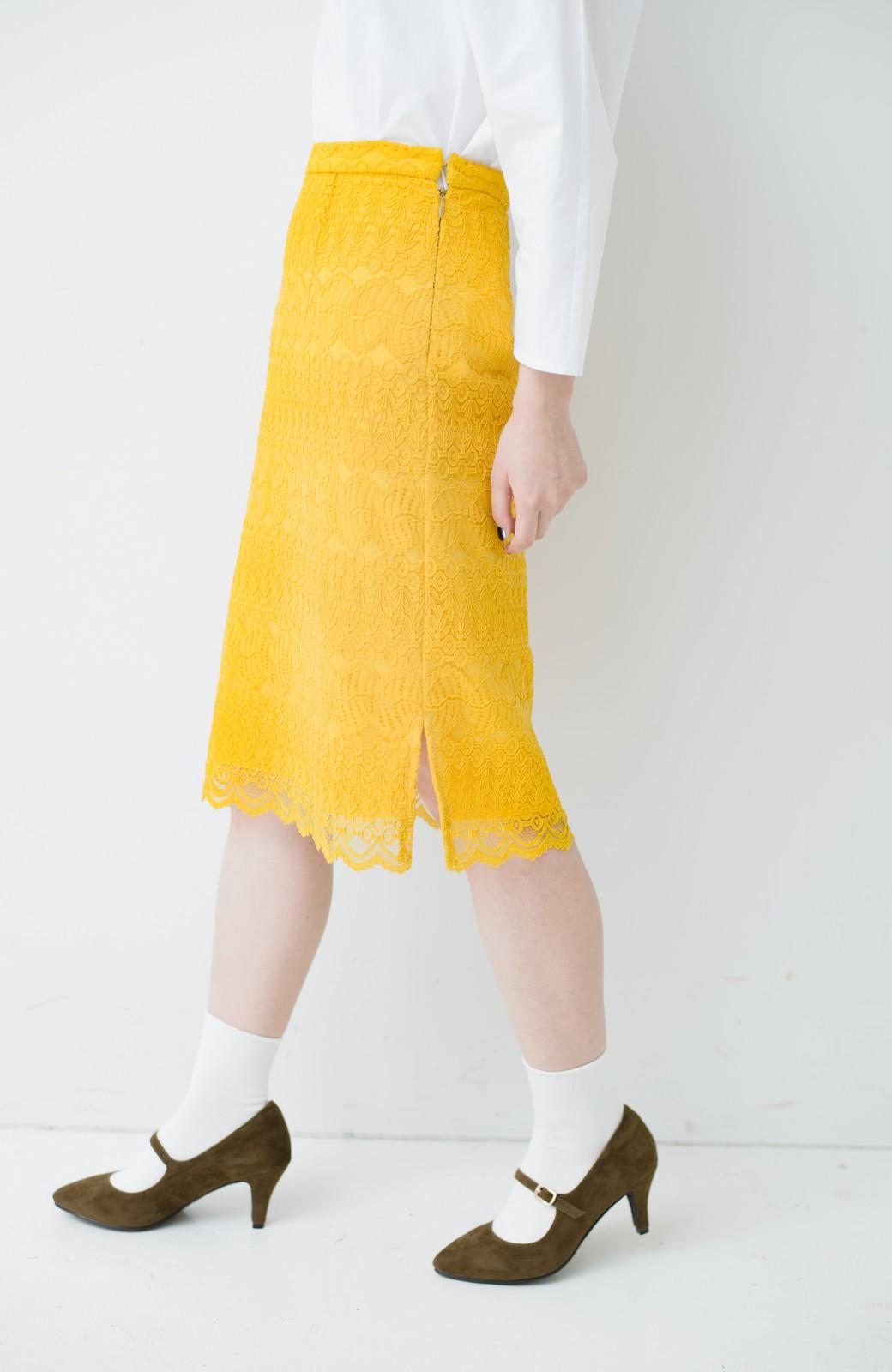 haco! 伸びる素材で楽して女っぽく レースタイトスカート <イエロー>の商品写真6