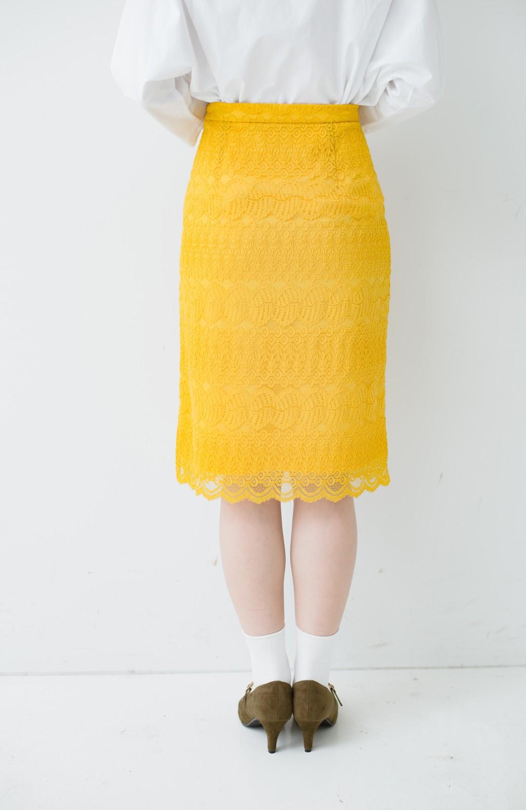 haco! 伸びる素材で楽して女っぽく レースタイトスカート <イエロー>の商品写真7
