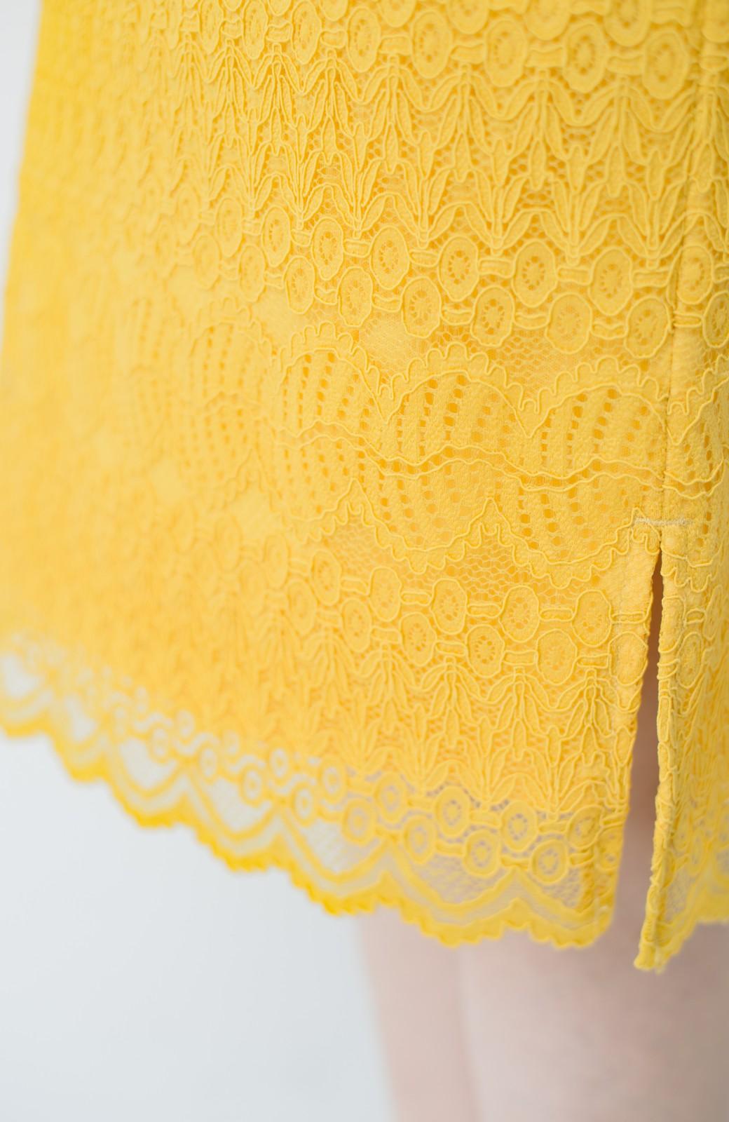 haco! 伸びる素材で楽して女っぽく レースタイトスカート <イエロー>の商品写真9