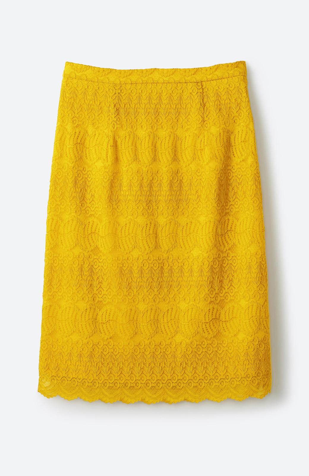 haco! 伸びる素材で楽して女っぽく レースタイトスカート <イエロー>の商品写真1