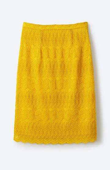haco! 伸びる素材で楽して女っぽく レースタイトスカート <イエロー>の商品写真