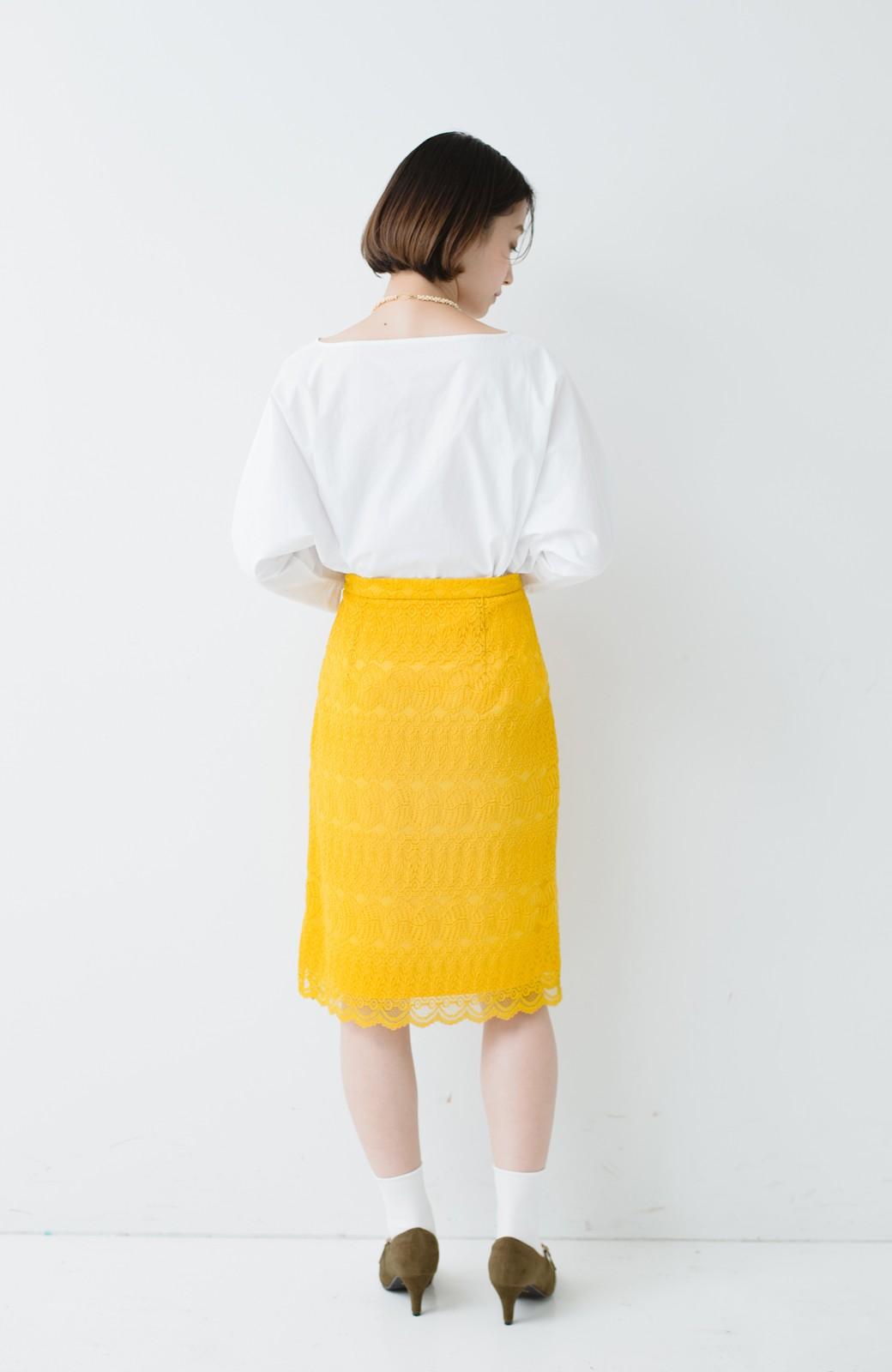 haco! 伸びる素材で楽して女っぽく レースタイトスカート <イエロー>の商品写真14