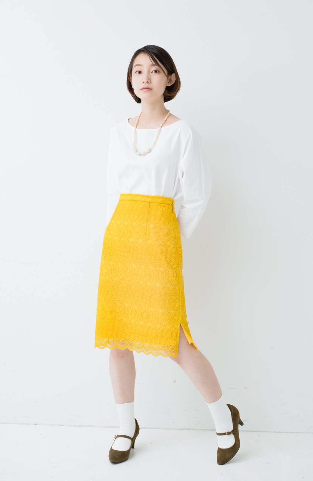 haco! 伸びる素材で楽して女っぽく レースタイトスカート <イエロー>の商品写真10