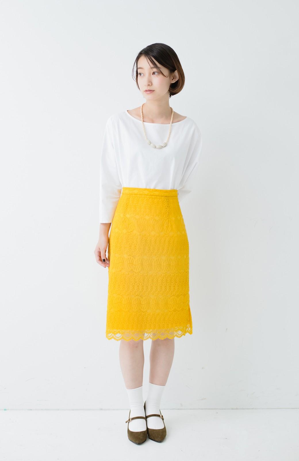 haco! 伸びる素材で楽して女っぽく レースタイトスカート <イエロー>の商品写真11