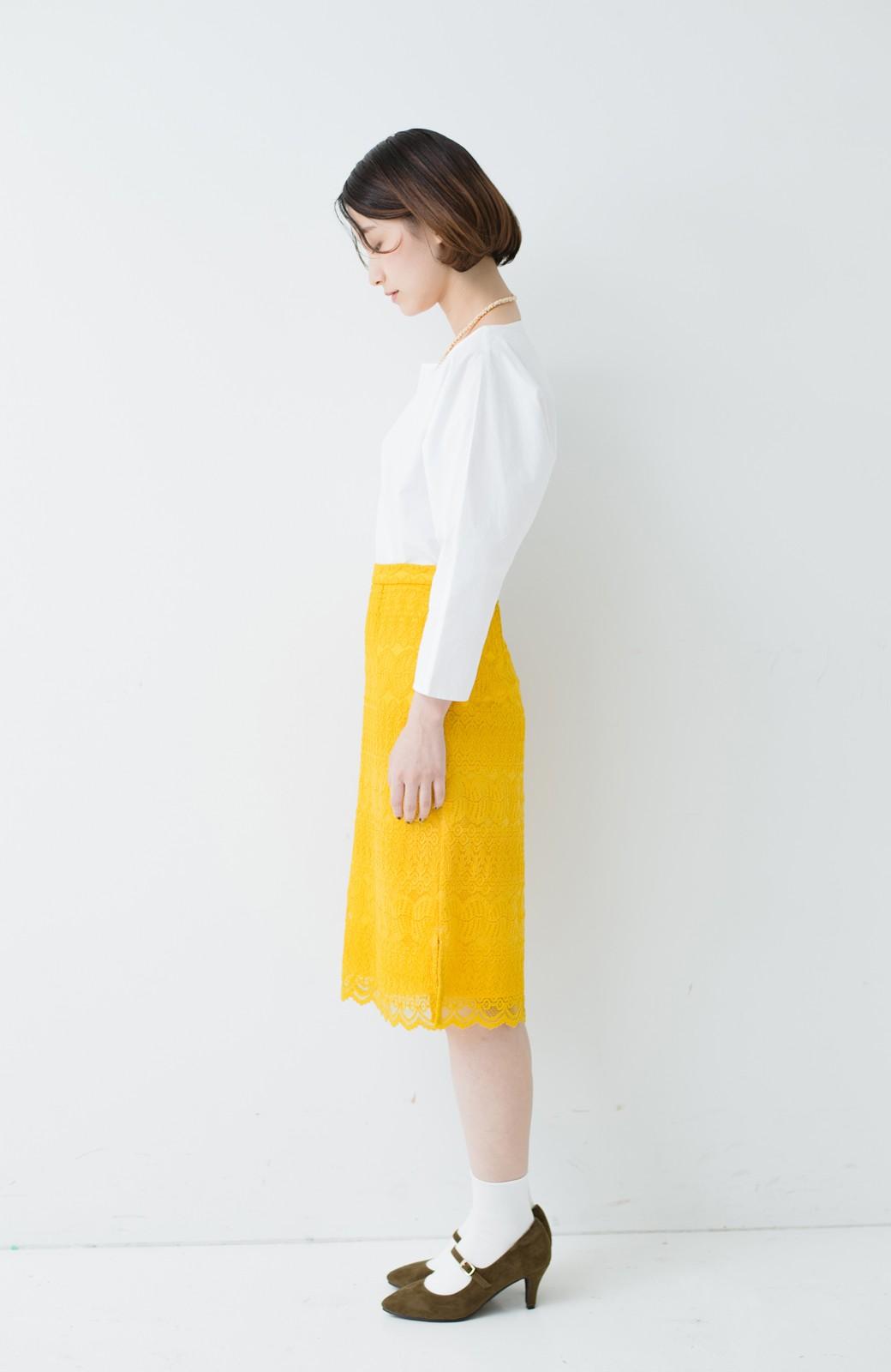 haco! 伸びる素材で楽して女っぽく レースタイトスカート <イエロー>の商品写真12