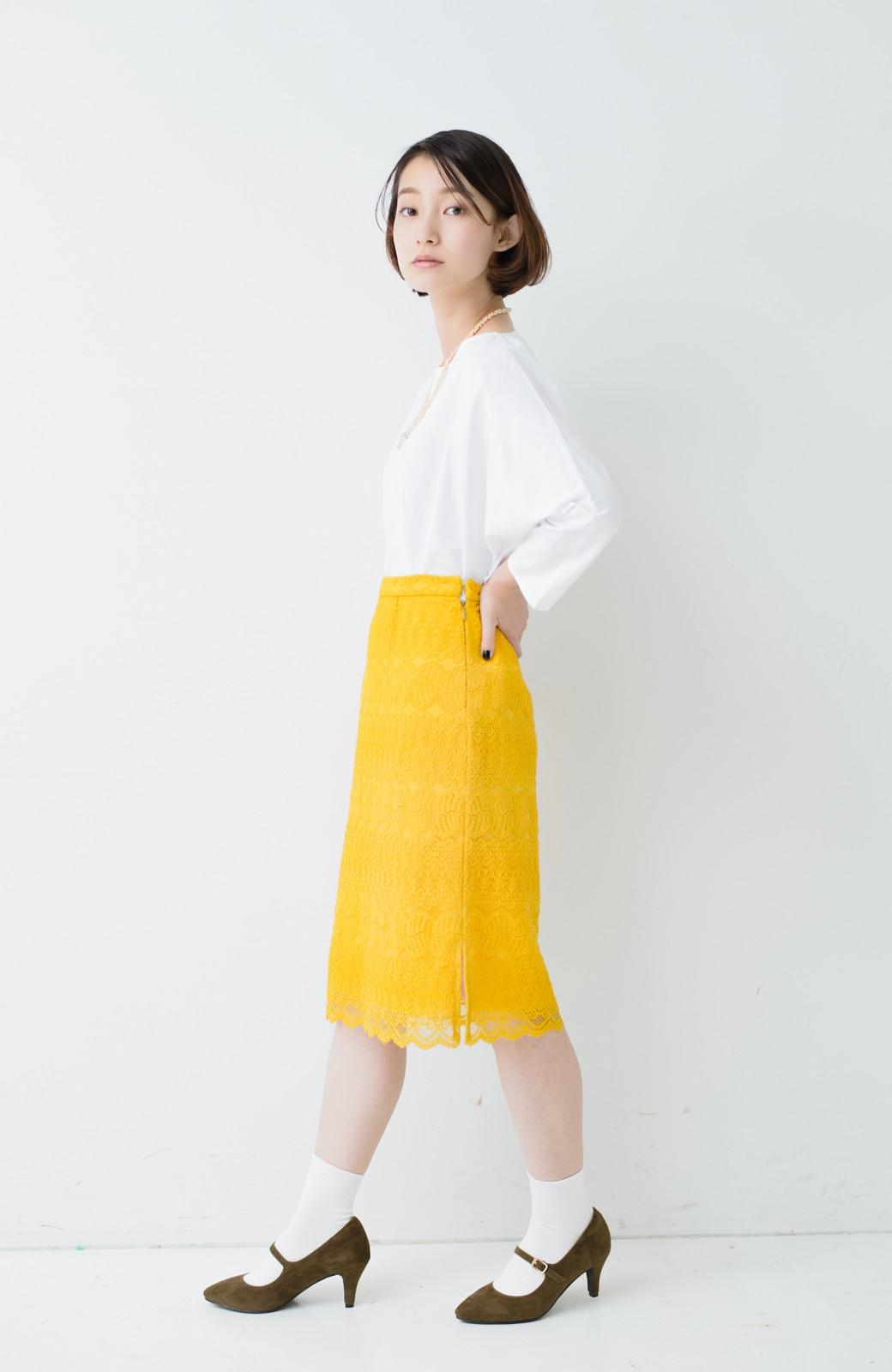 haco! 伸びる素材で楽して女っぽく レースタイトスカート <イエロー>の商品写真13