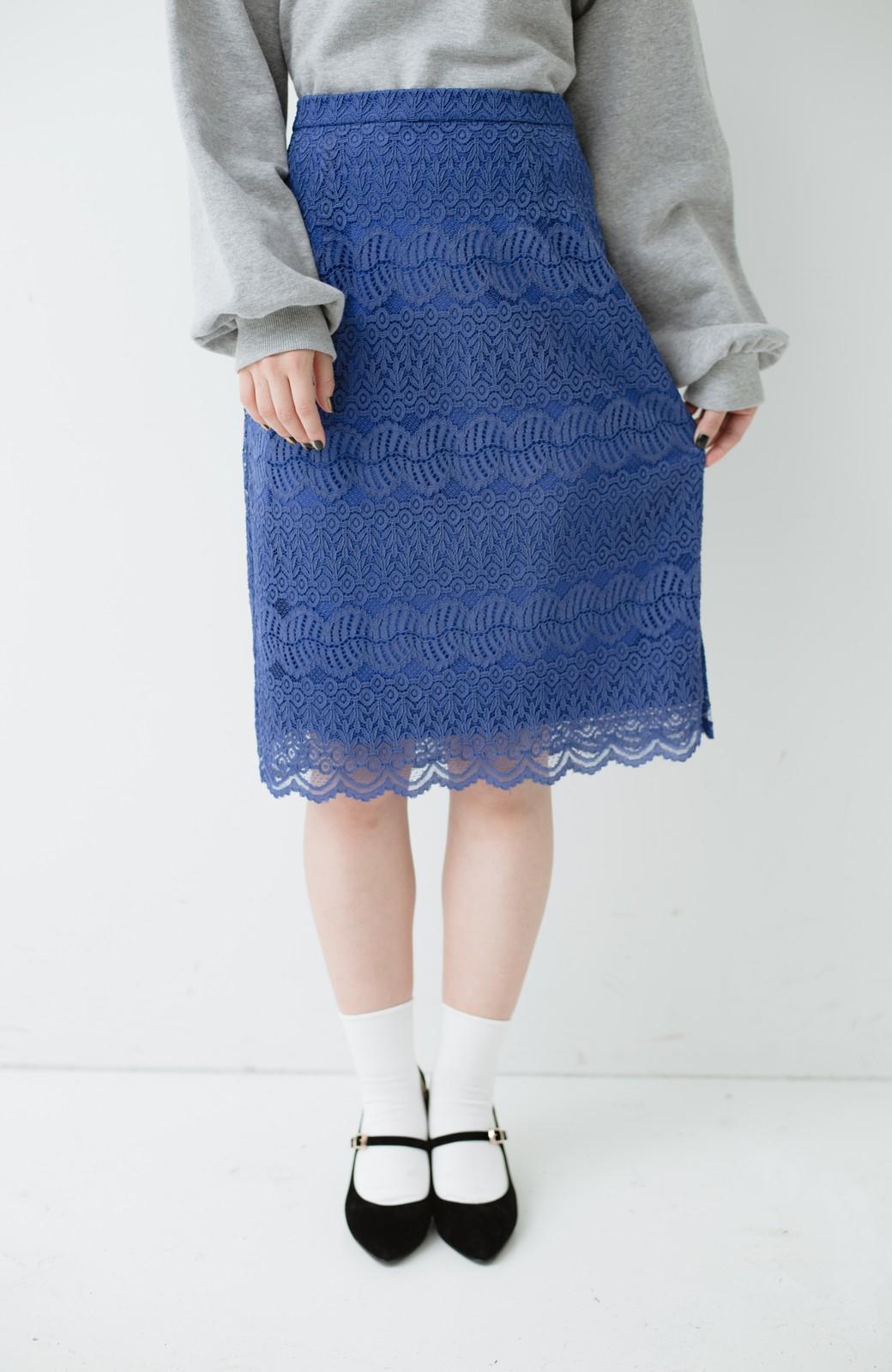 haco! 伸びる素材で楽して女っぽく レースタイトスカート <ブルー>の商品写真3