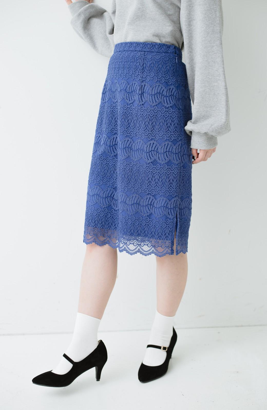 haco! 伸びる素材で楽して女っぽく レースタイトスカート <ブルー>の商品写真4