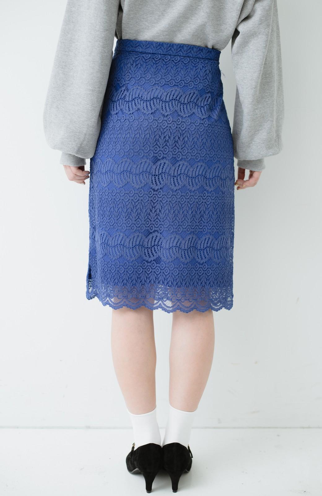 haco! 伸びる素材で楽して女っぽく レースタイトスカート <ブルー>の商品写真5