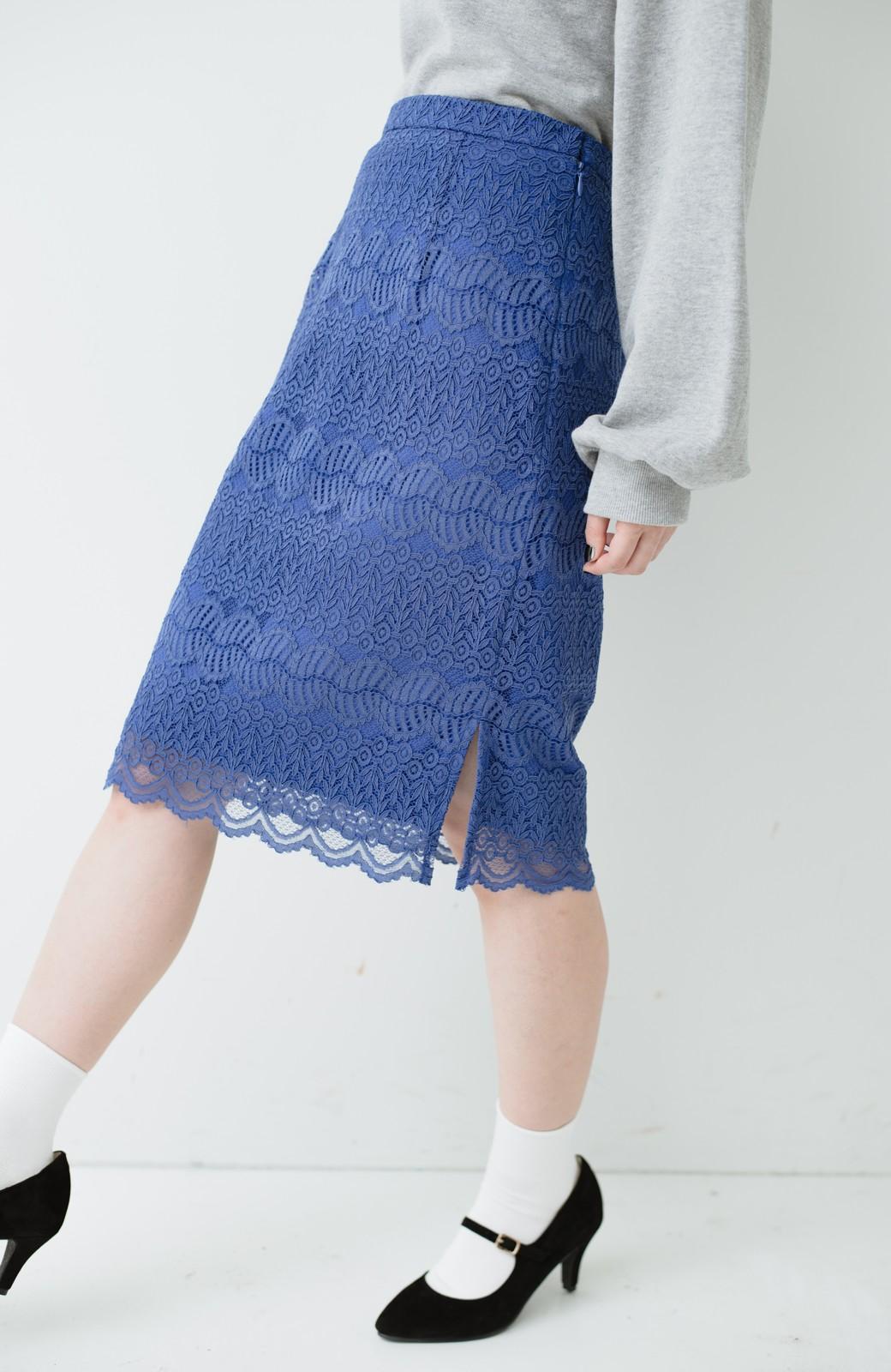 haco! 伸びる素材で楽して女っぽく レースタイトスカート <ブルー>の商品写真6