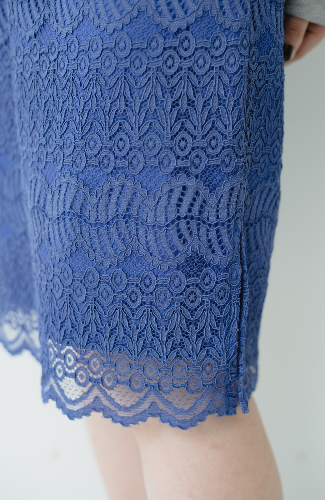 haco! 伸びる素材で楽して女っぽく レースタイトスカート <ブルー>の商品写真7