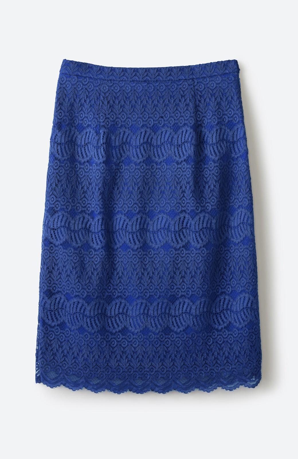 haco! 伸びる素材で楽して女っぽく レースタイトスカート <ブルー>の商品写真1