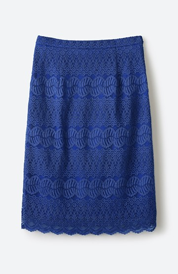 haco! 伸びる素材で楽して女っぽく レースタイトスカート <ブルー>の商品写真