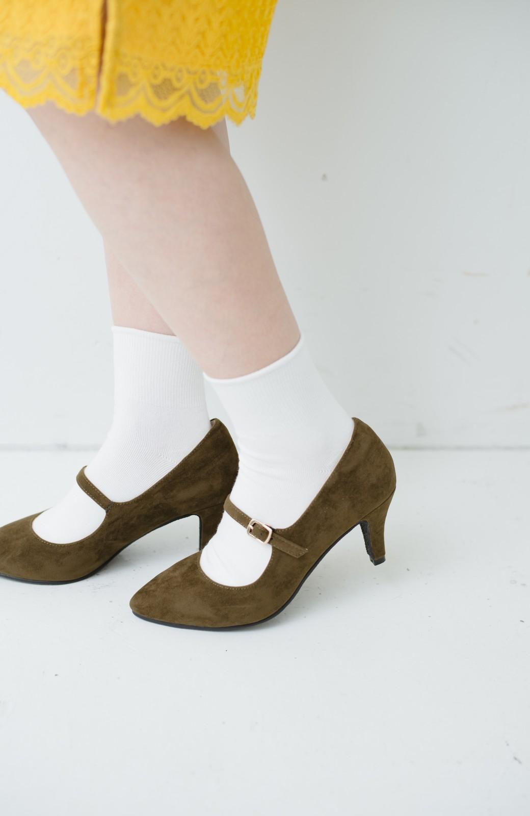 haco! 靴下と合わせてもかわいい ストラップパンプス <カーキ>の商品写真3