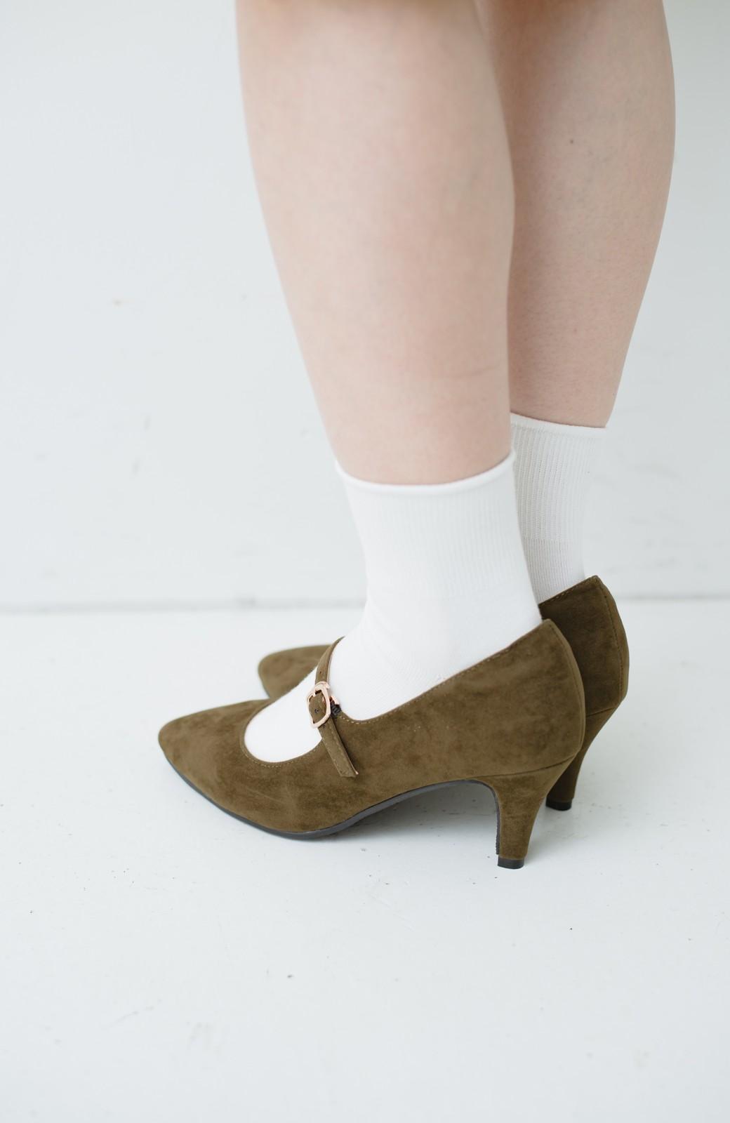 haco! 靴下と合わせてもかわいい ストラップパンプス <カーキ>の商品写真5