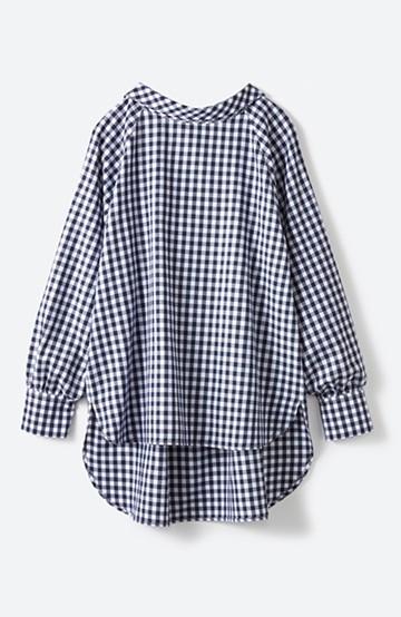 haco! 後ろ姿もぬかりなく 女っぽかわいいギンガムチェックビッグシャツ <ブルー系その他>の商品写真