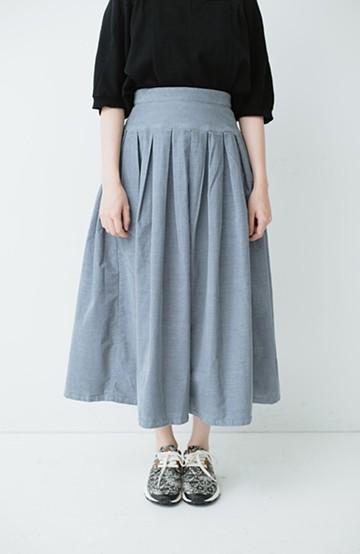 haco! Lee 細うねコーデュロイのタックプリーツスカート  <サックスブルー>の商品写真