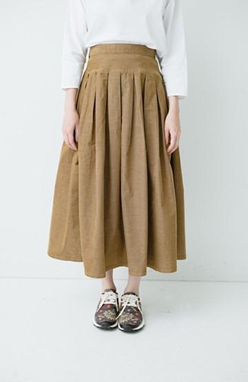 haco! Lee 細うねコーデュロイのタックプリーツスカート  <ダークベージュ>の商品写真