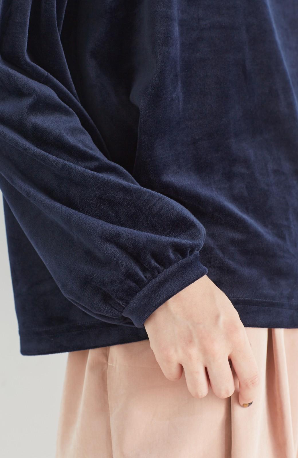 haco! 気軽に今っぽ女っぽ 便利なベロアトップス <ネイビー>の商品写真13