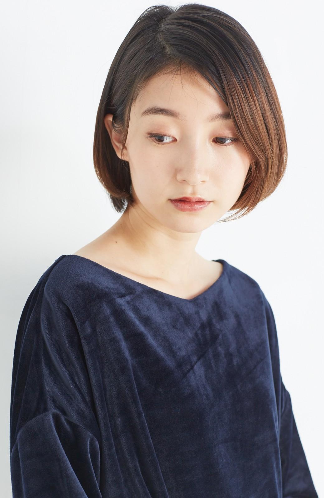 haco! 気軽に今っぽ女っぽ 便利なベロアトップス <ネイビー>の商品写真11