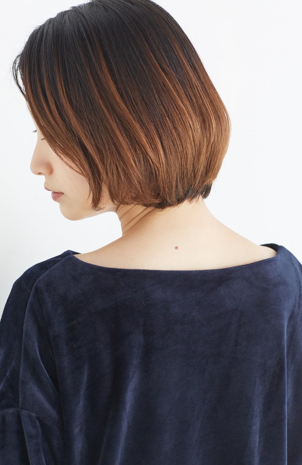 haco! 気軽に今っぽ女っぽ 便利なベロアトップス <ネイビー>の商品写真12